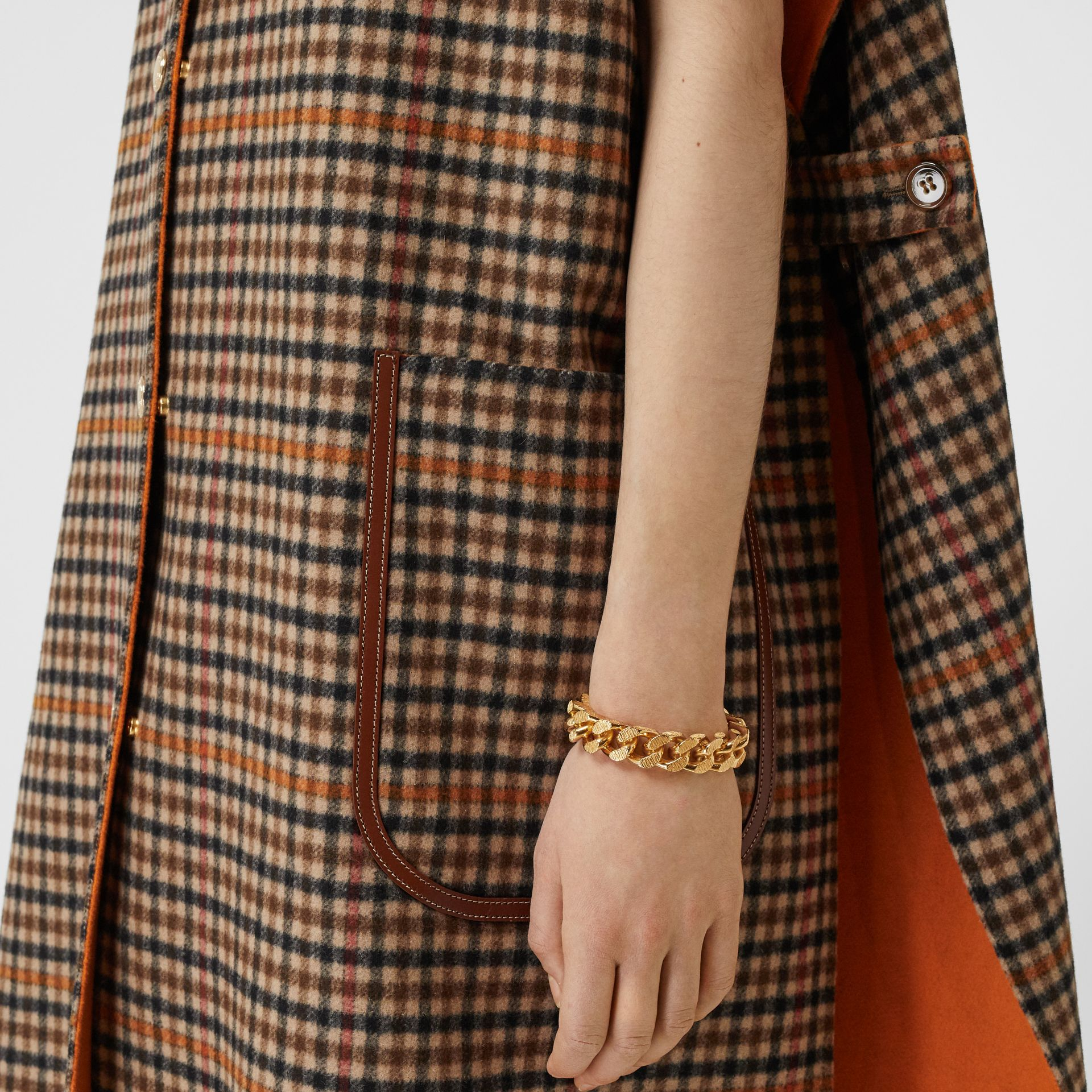 Double-faced Check Wool Cape in Bright Orange - Women | Burberry United Kingdom - gallery image 4