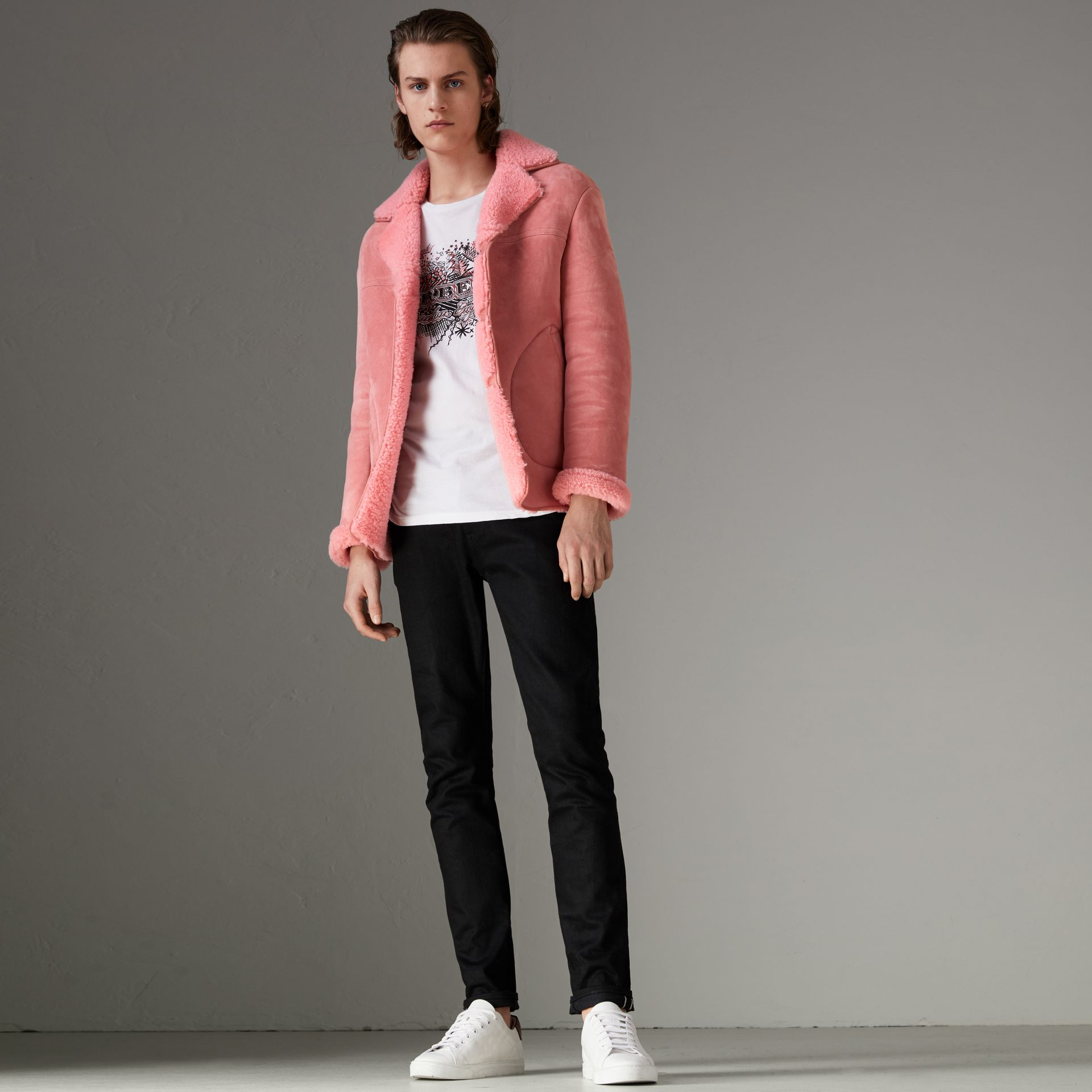 Leather Trim Shearling Jacket in Copper Pink - Men | Burberry Australia - gallery image 0