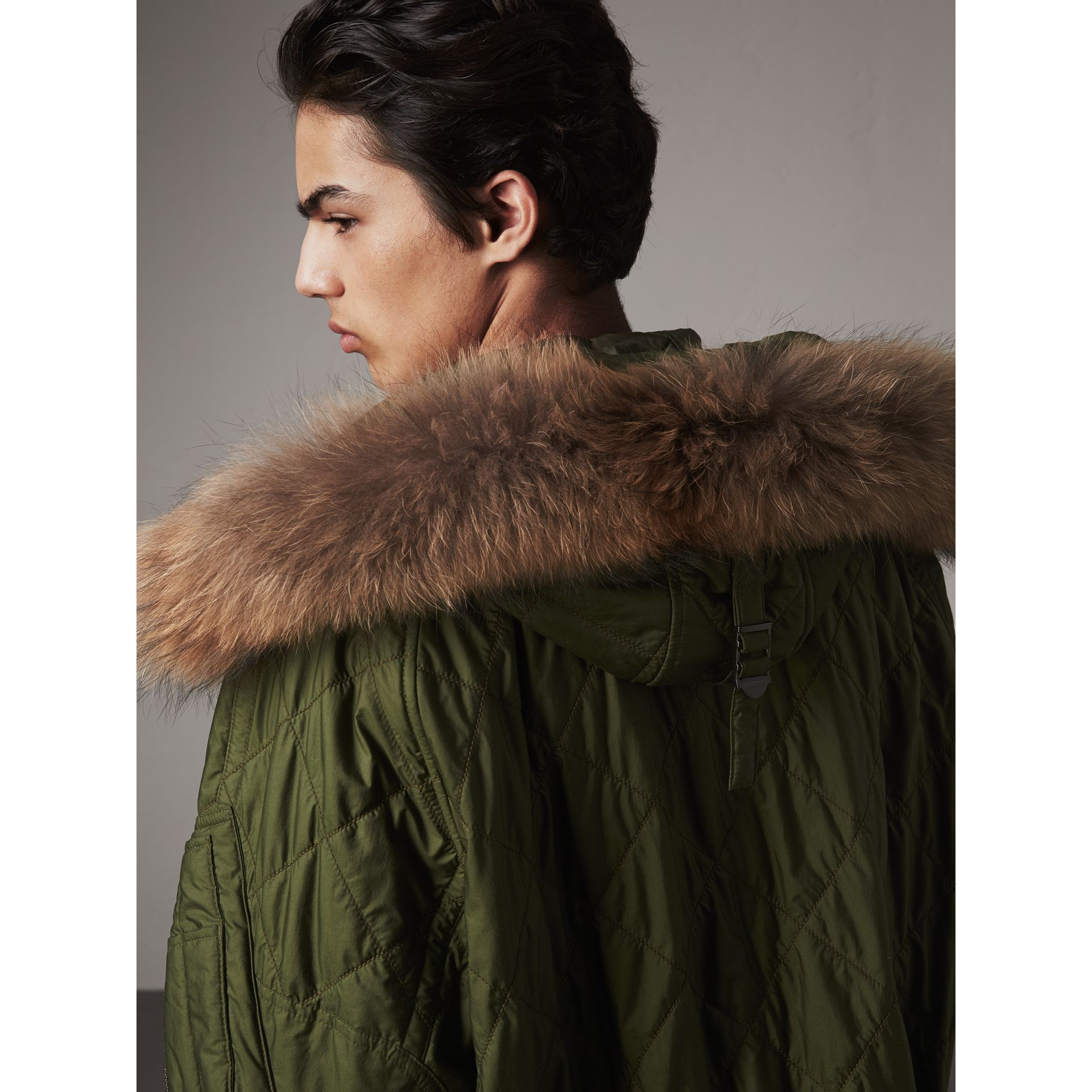 Detachable Fur Trim Hooded Diamond Quilted Parka in Olive - Men | Burberry - gallery image 1
