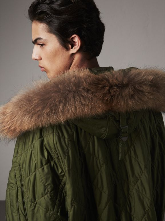 Detachable Fur Trim Hooded Diamond Quilted Parka in Olive - Men | Burberry - cell image 1