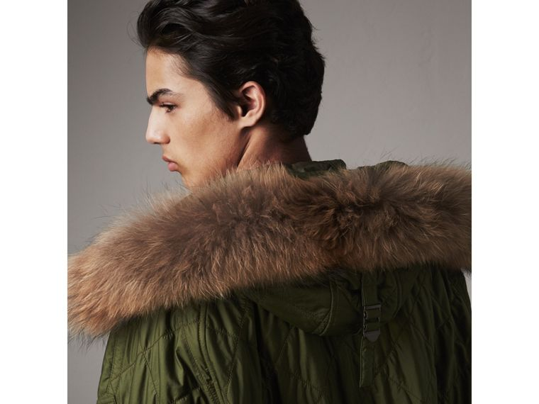 Detachable Fur Trim Hooded Diamond Quilted Parka in Olive - Men | Burberry United Kingdom - cell image 1