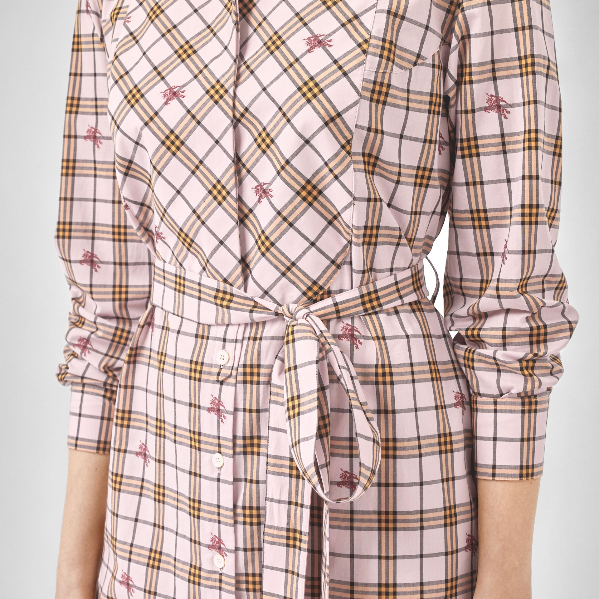 EKD Check Cotton Tie-waist Shirt Dress in Alabaster Pink - Women | Burberry - gallery image 4