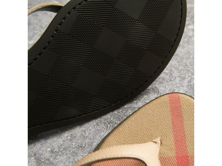 House Check and Patent Leather Sandals in Honey - Women | Burberry Singapore - cell image 1