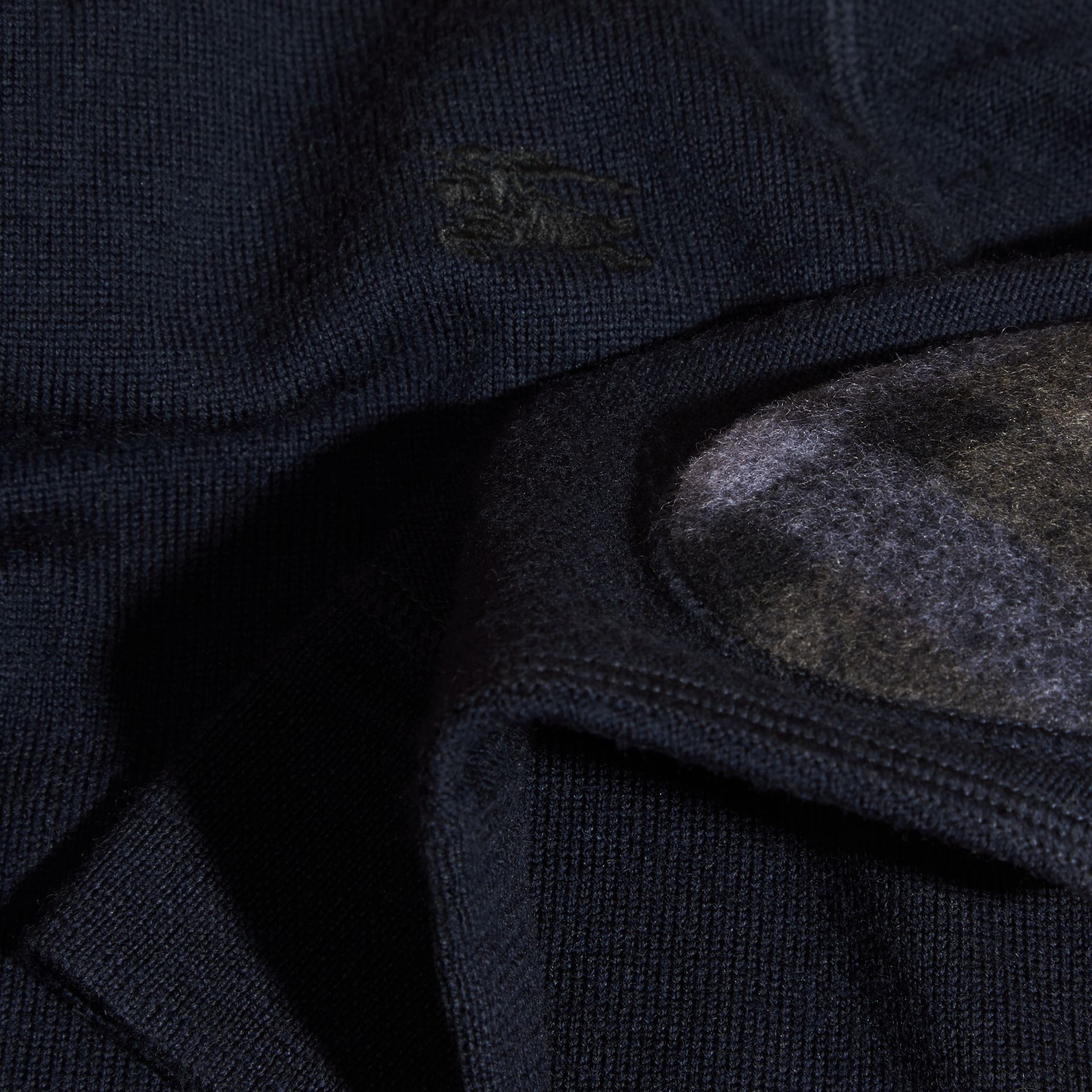 Check Elbow Patch Merino Wool Sweater in Navy - Boy | Burberry - gallery image 2