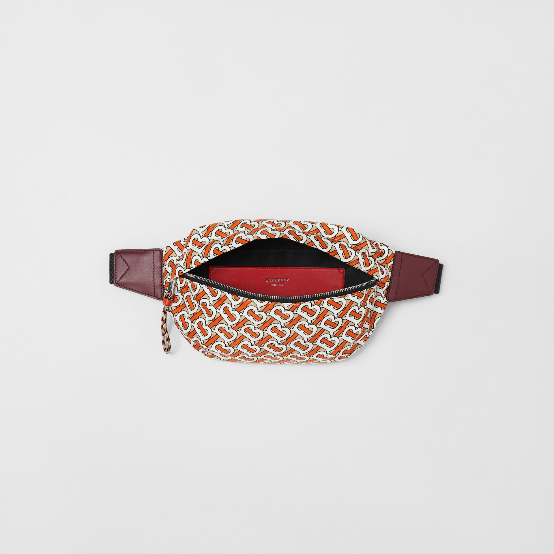 Medium Monogram Print Bum Bag in Vermilion | Burberry - gallery image 4