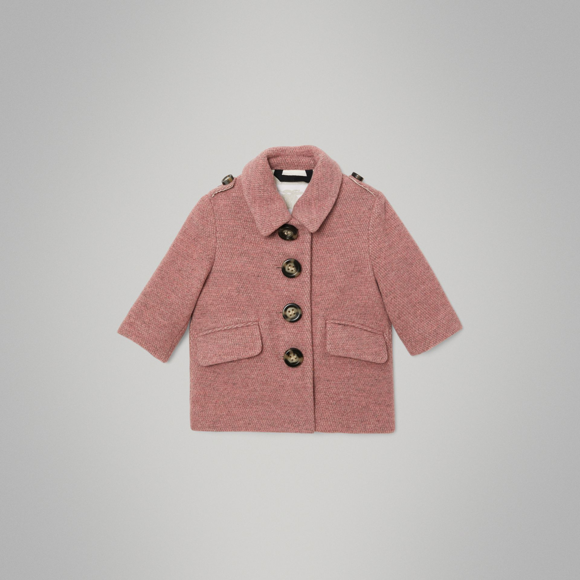 Wool Blend Pea Coat in Rose Pink Melange - Children | Burberry United Kingdom - gallery image 0