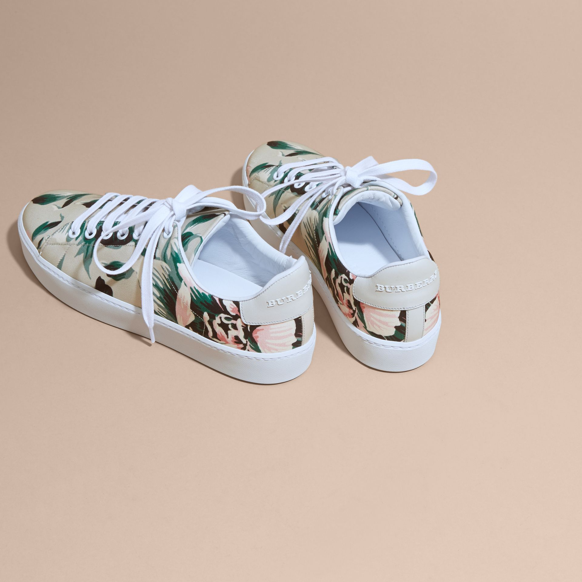 Emerald green Peony Rose Print Canvas and Leather Sneakers Emerald Green - gallery image 4
