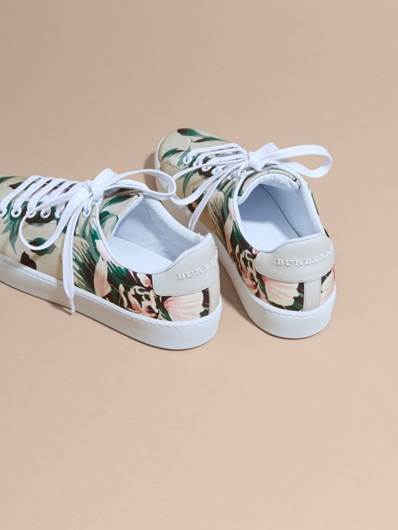 Emerald green Peony Rose Print Canvas and Leather Sneakers Emerald Green - cell image 3