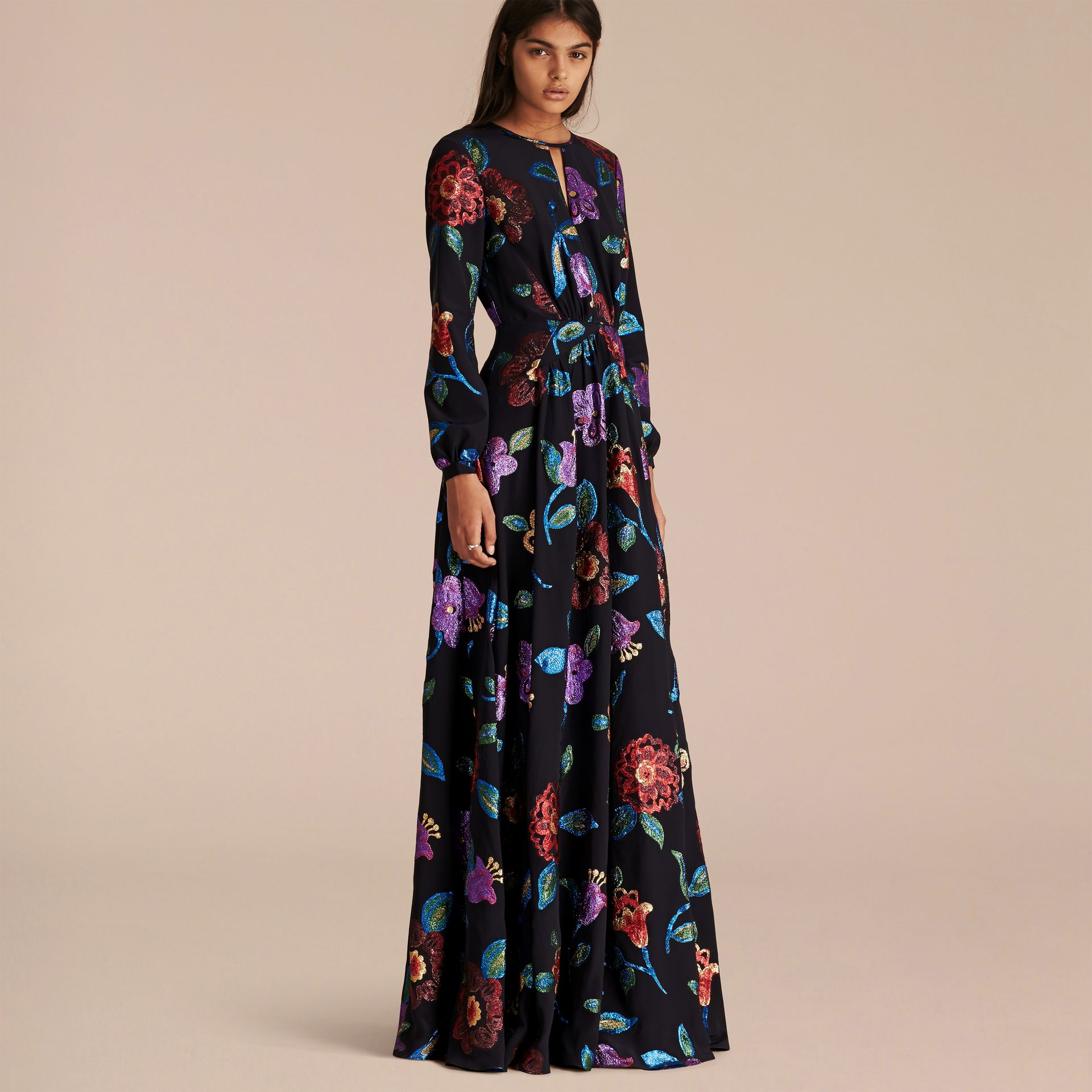 Navy Floral Fil Coupé Silk Gown - gallery image 1