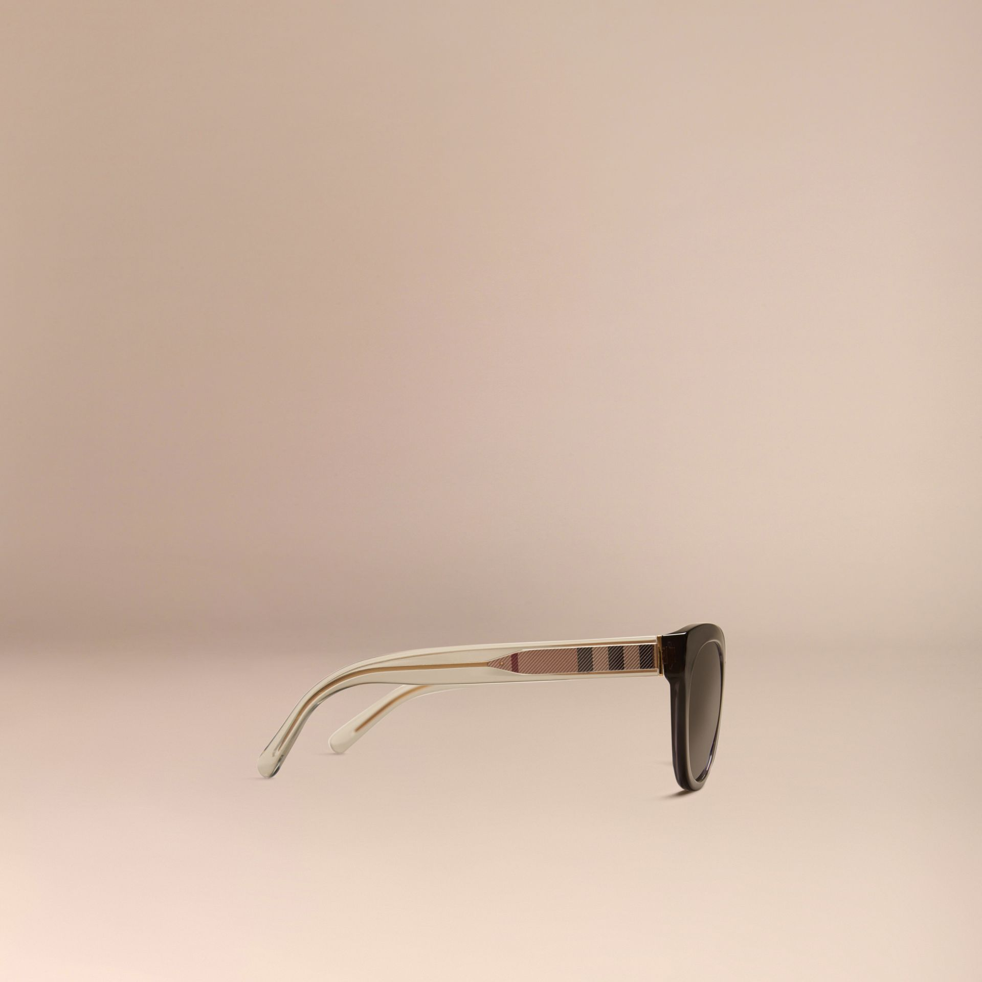 Dark grey Check Detail Oval Sunglasses Dark Grey - gallery image 5