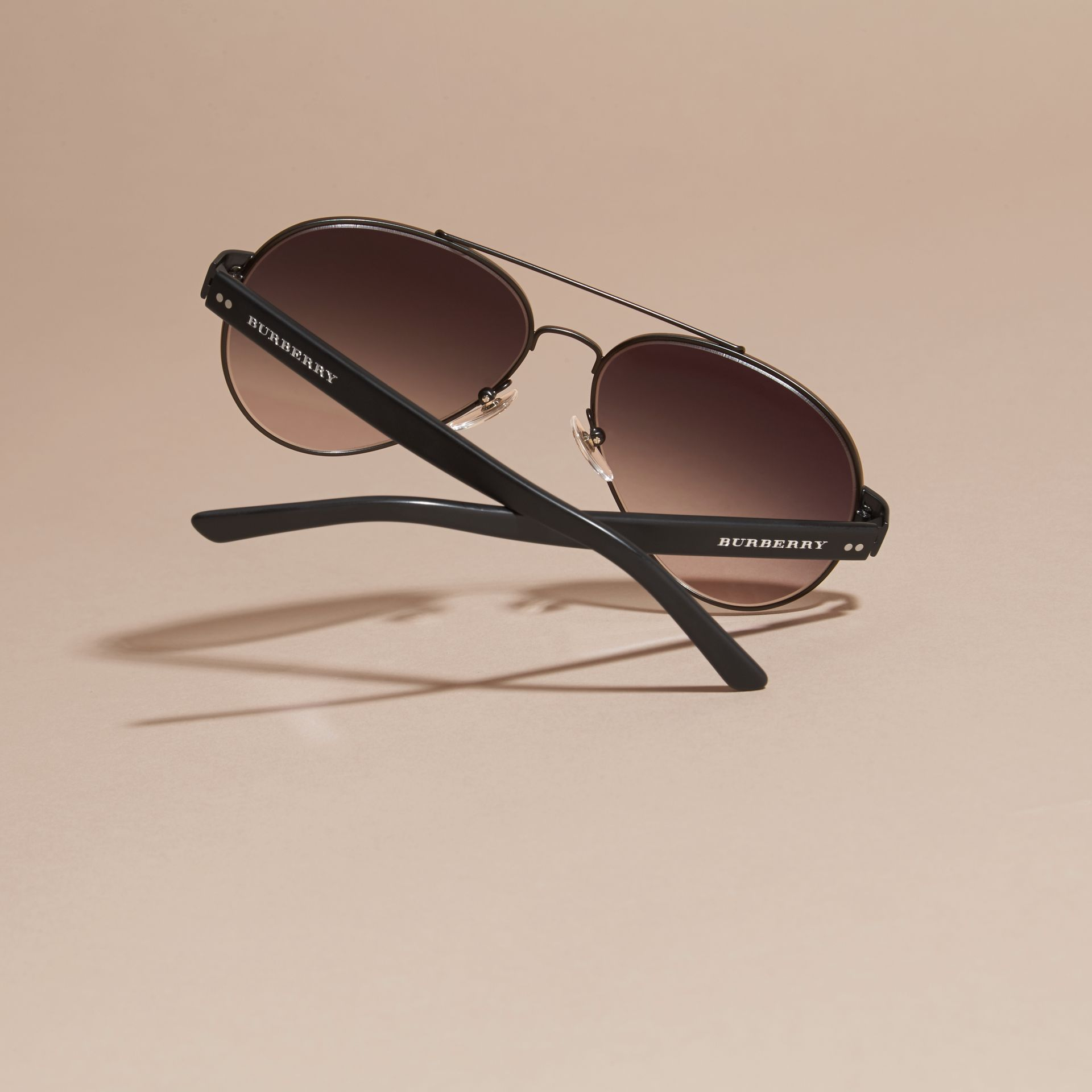 Pilot Sunglasses in Black - Men | Burberry - gallery image 4