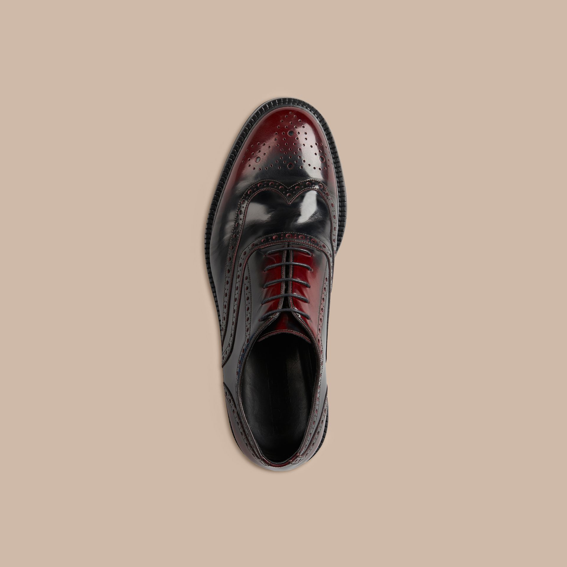 Bordeaux Leather Wingtip Brogues With Rubber Sole Bordeaux - gallery image 3
