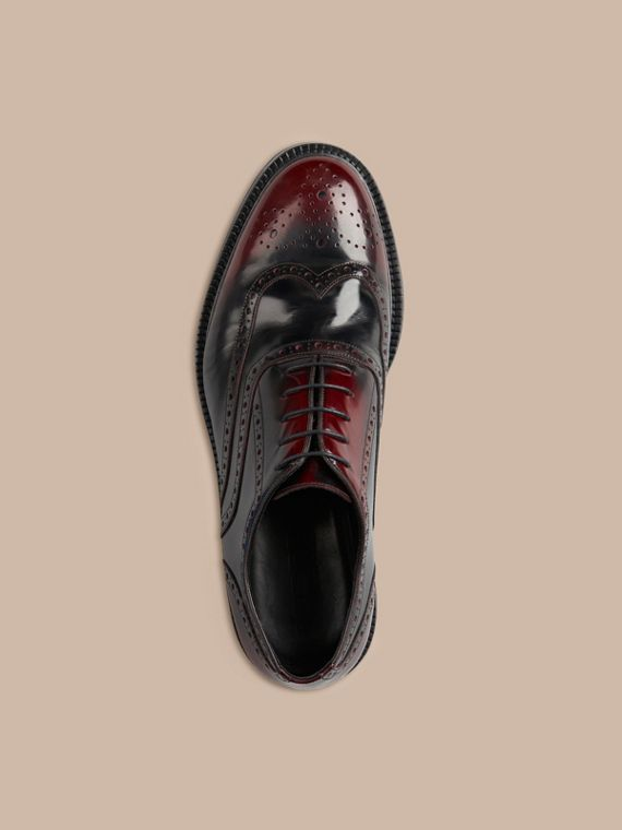 Bordeaux Leather Wingtip Brogues With Rubber Sole Bordeaux - cell image 2