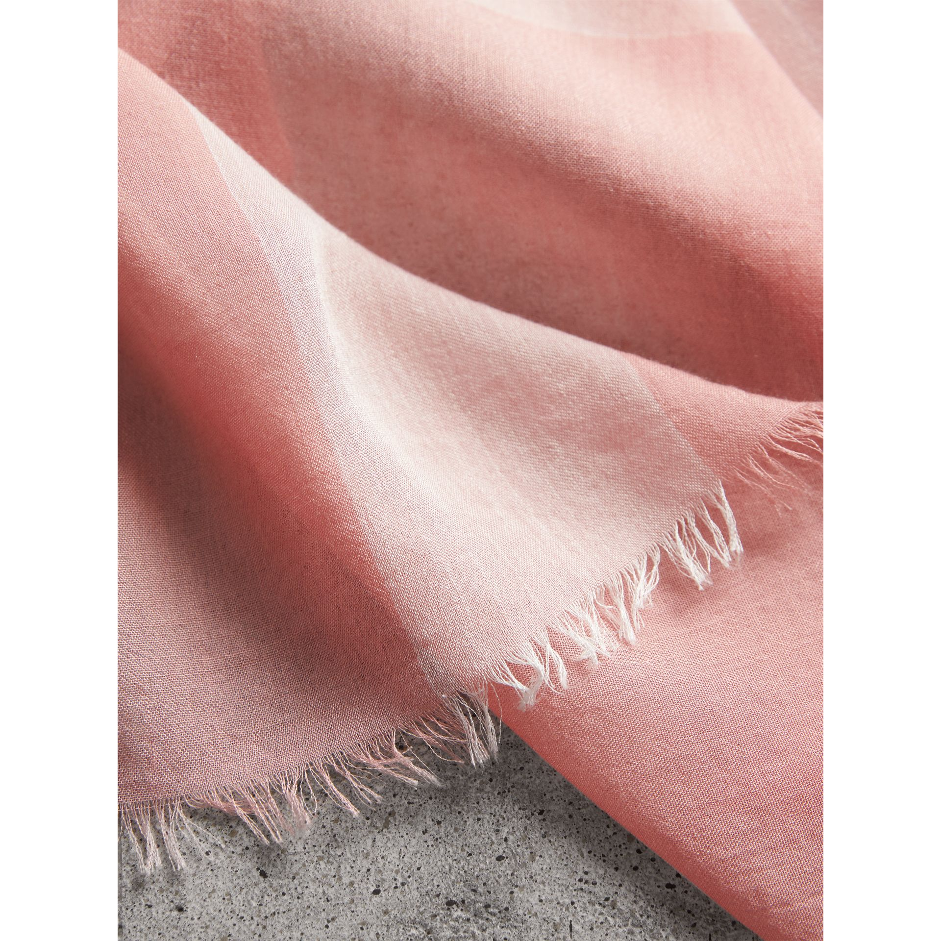 Check Modal Cashmere and Silk Scarf in Antique Rose - Women | Burberry - gallery image 2