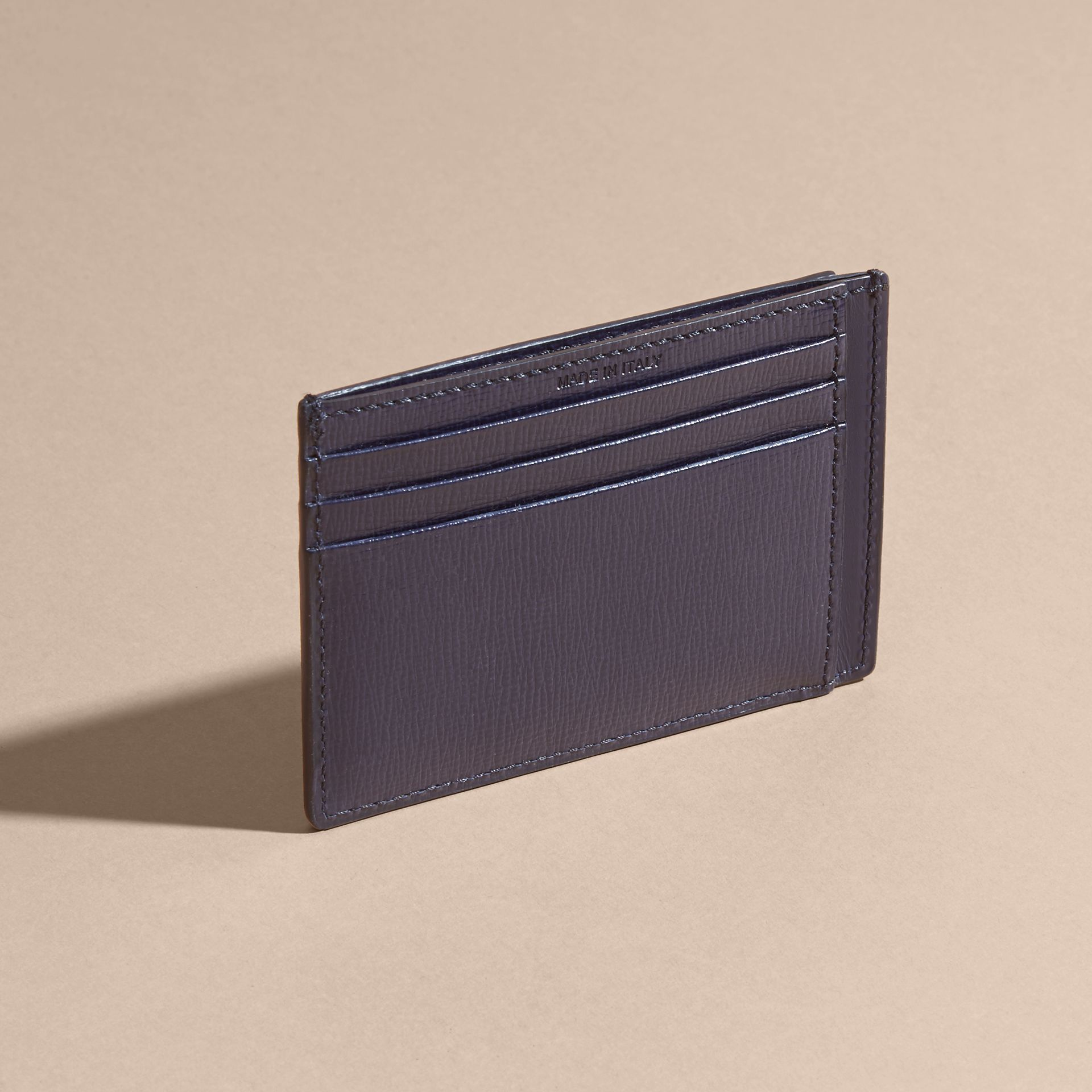 London Leather Card Case in Dark Navy | Burberry - gallery image 2