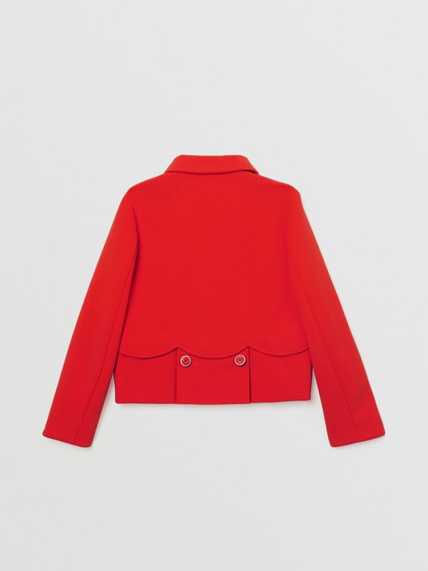 Logo Print Crepe Jersey Double-breasted Jacket in Bright Red | Burberry - cell image 3