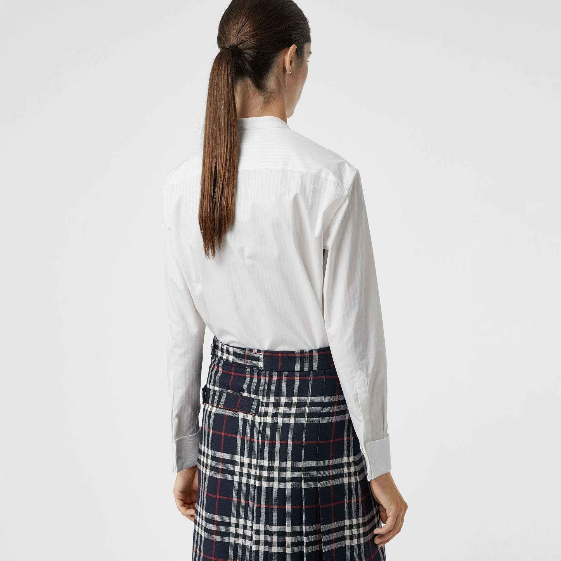 Slim Fit Panelled Bib Cotton Shirt in White - Women | Burberry - gallery image 2