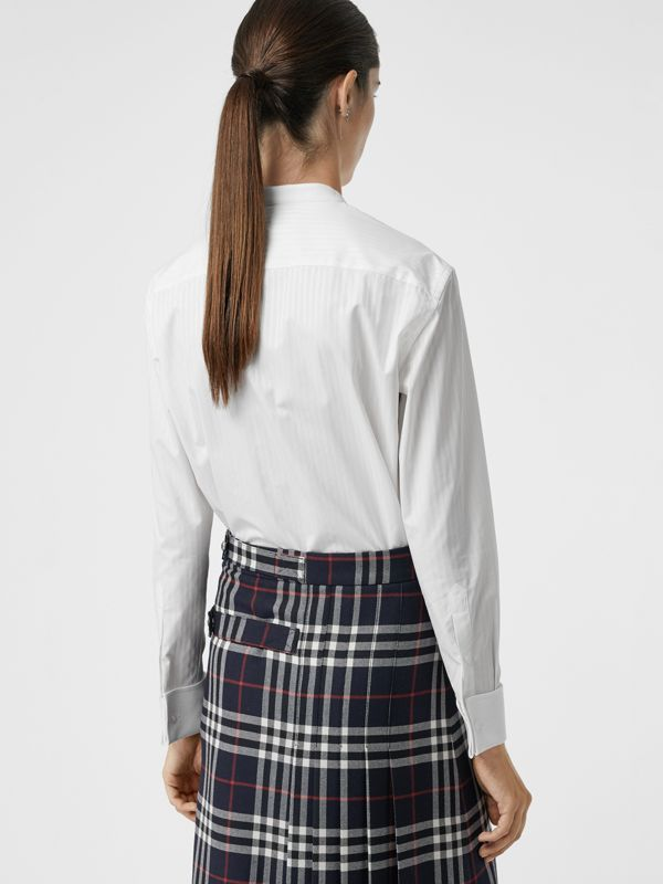 Slim Fit Panelled Bib Cotton Shirt in White - Women | Burberry - cell image 2