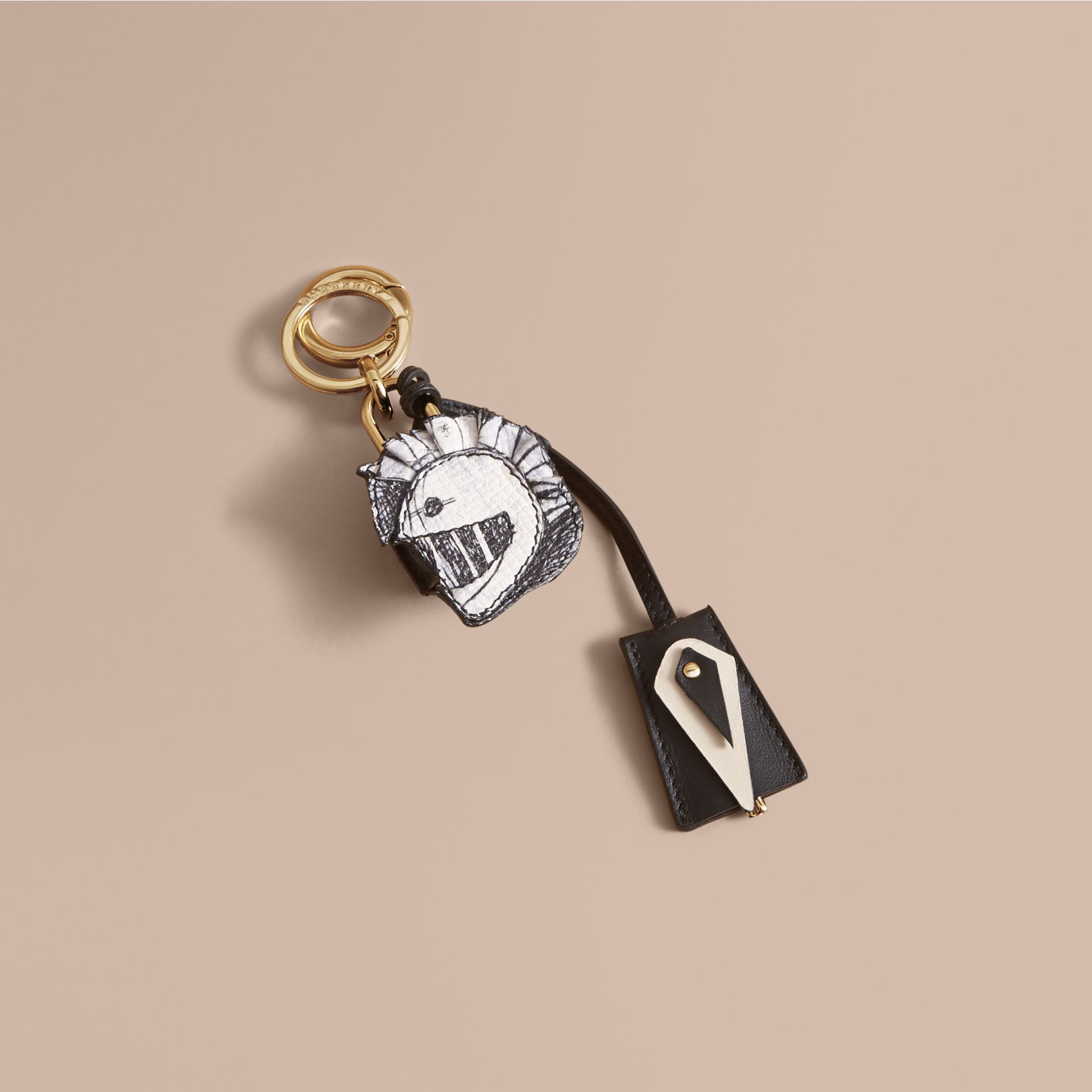Pallas Helmet Motif Leather Key Charm with Padlock in Black/white - Women | Burberry Canada - gallery image 1