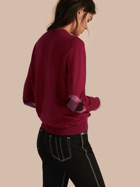Check Detail Merino Crew Neck Sweater Crimson