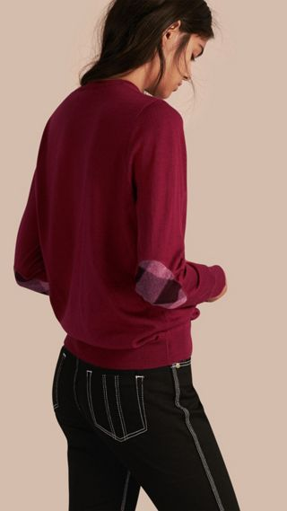 Check Detail Merino Crew Neck Sweater
