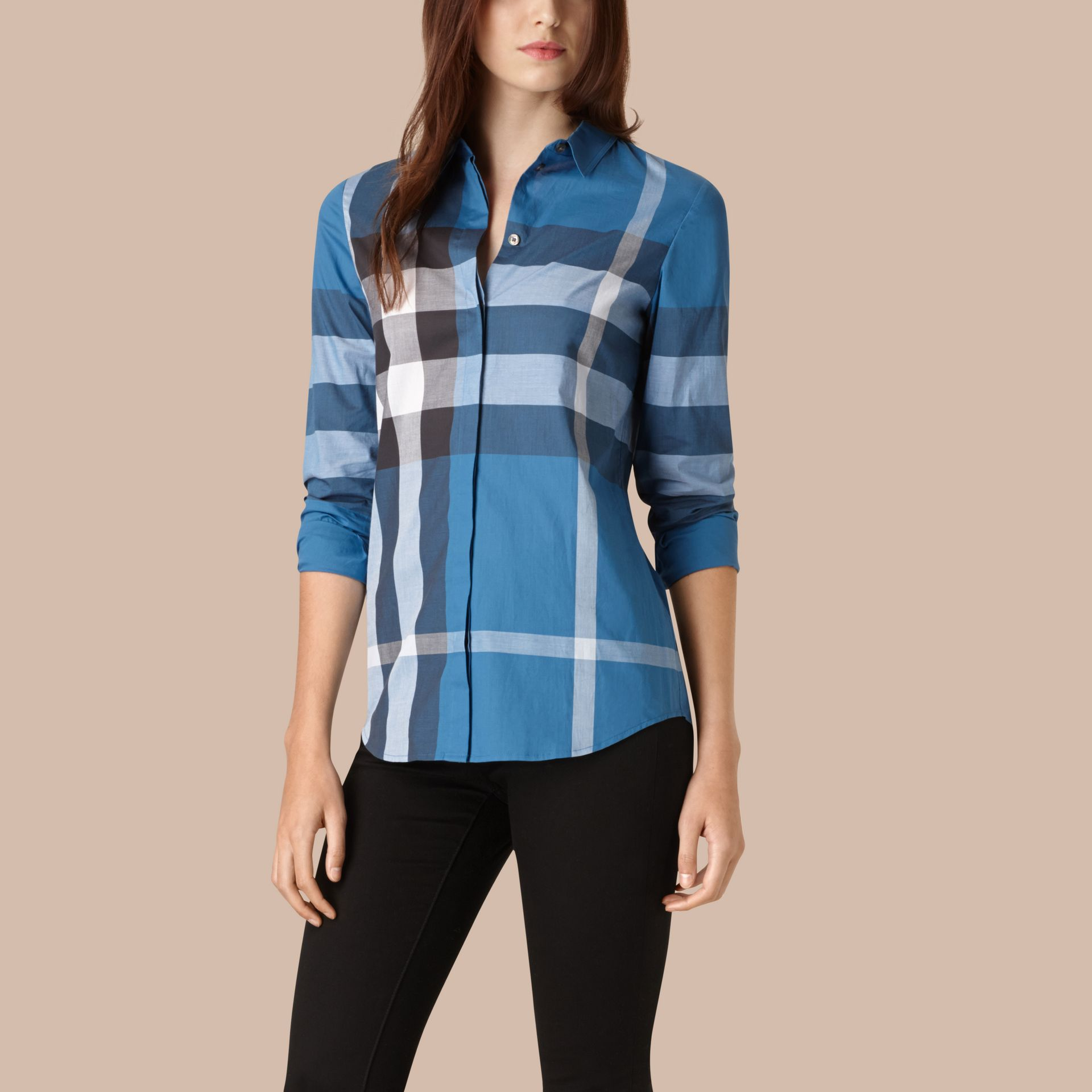 Lupin blue Check Cotton Shirt Lupin Blue - gallery image 1