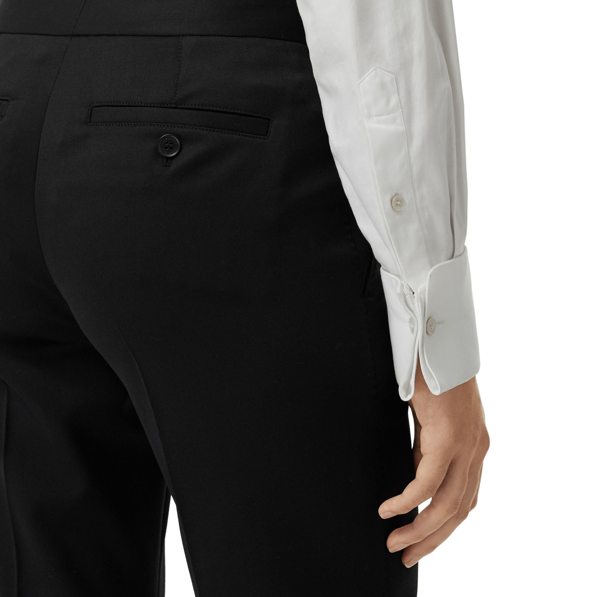 Straight Fit Wool Tailored Trousers in Black - Women | Burberry - gallery image 1