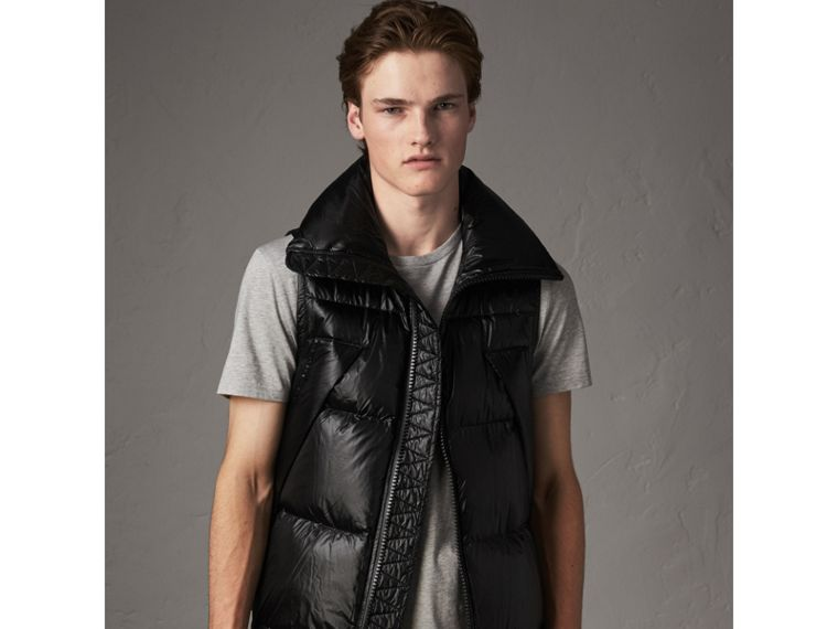 Rib Knit Cotton Blend Jacket with Down-filled Gilet in Mahogany Red - Men | Burberry - cell image 4