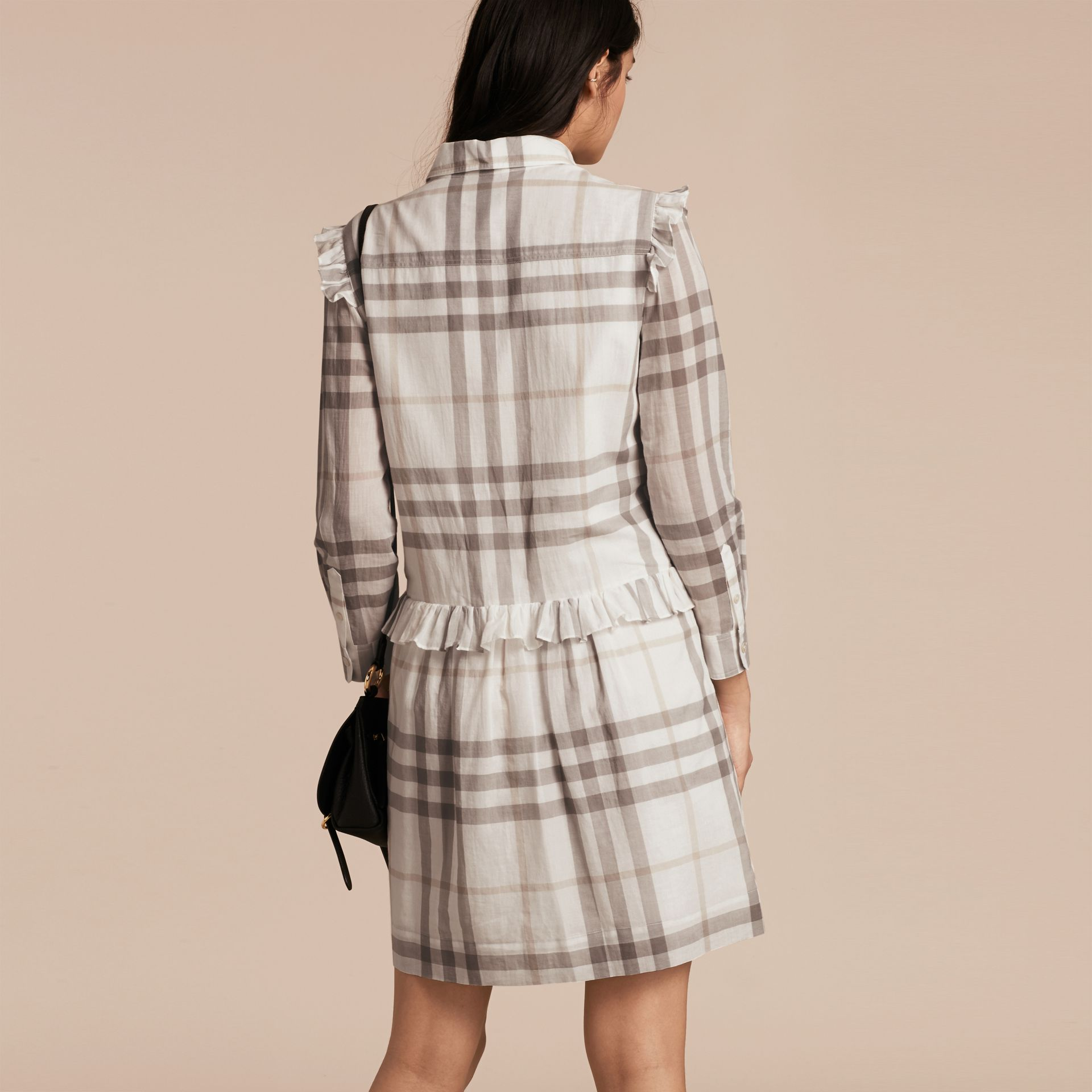 Ruffle Detail Cotton Check Shirt Dress in Natural White - gallery image 3