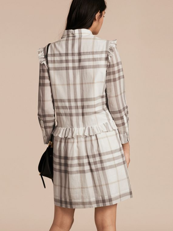 Ruffle Detail Cotton Check Shirt Dress in Natural White - cell image 2