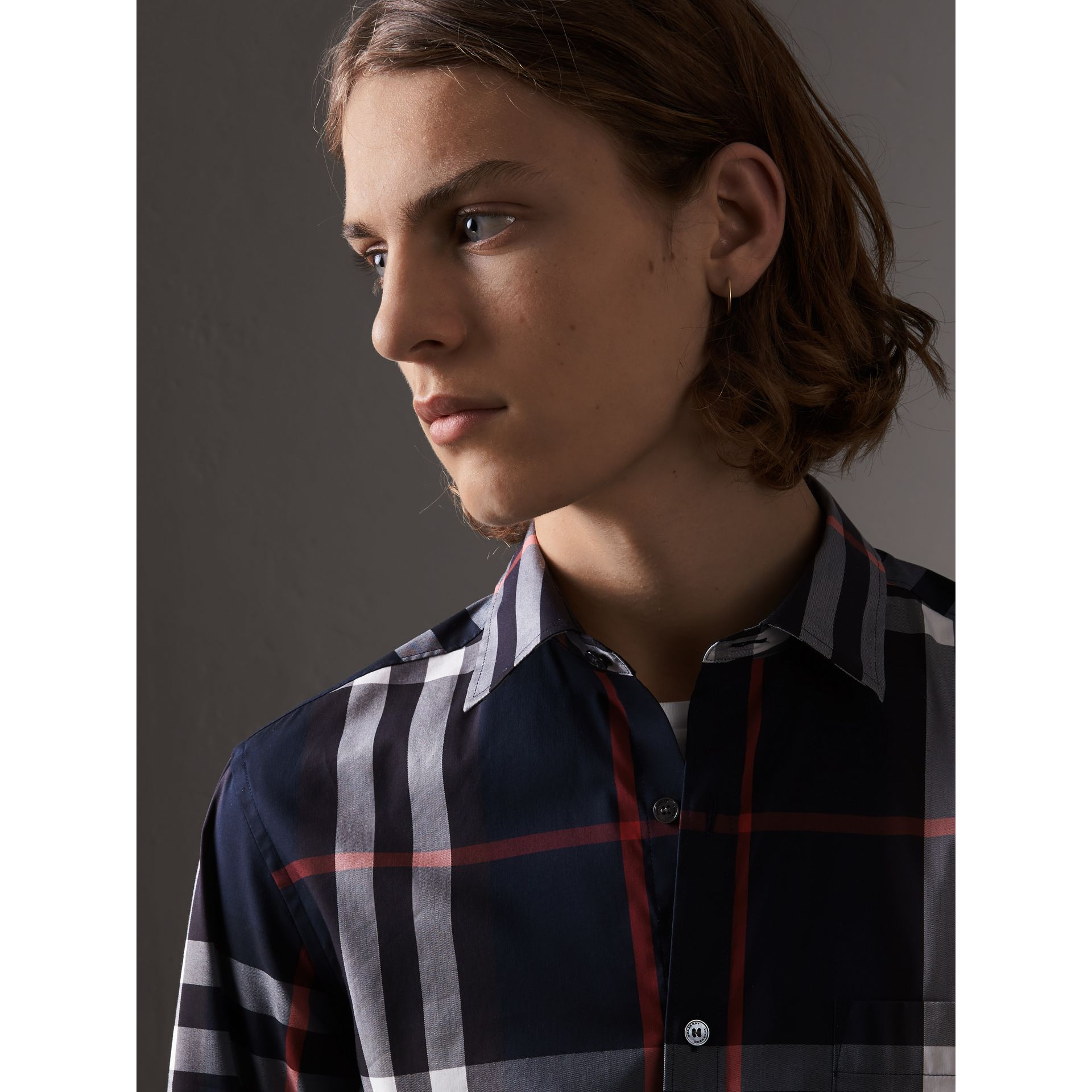 Check Stretch Cotton Shirt in Navy - Men | Burberry - gallery image 1