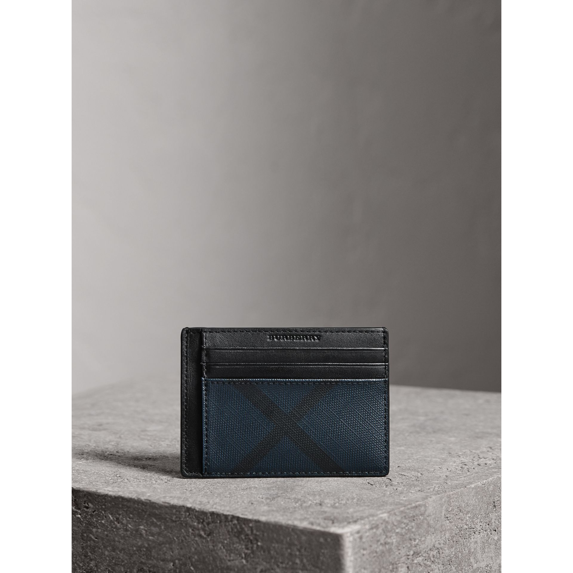 London Check Money Clip Card Case in Navy/black - Men | Burberry - gallery image 1