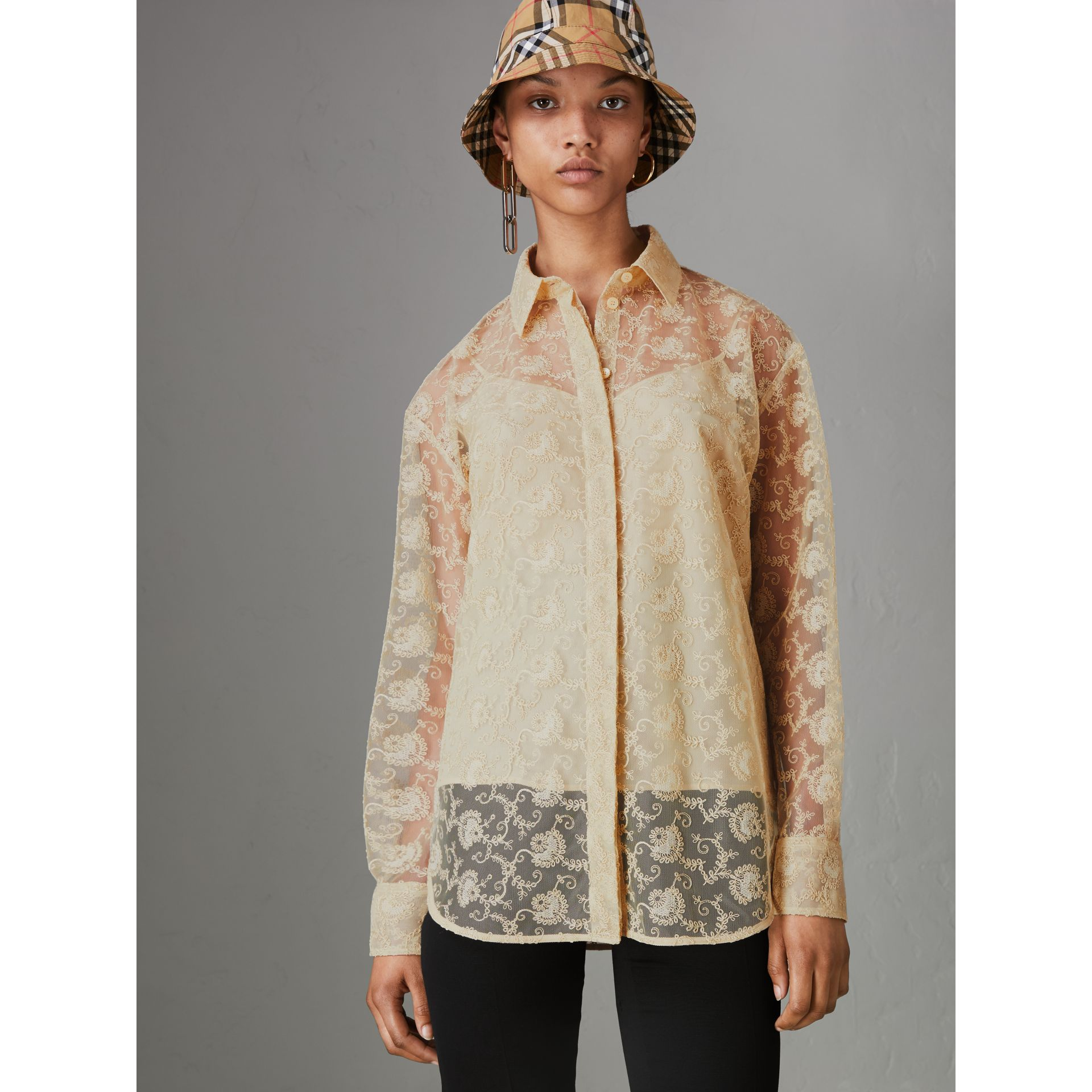 Floral Lace Shirt in Pale Yellow - Women | Burberry - gallery image 4