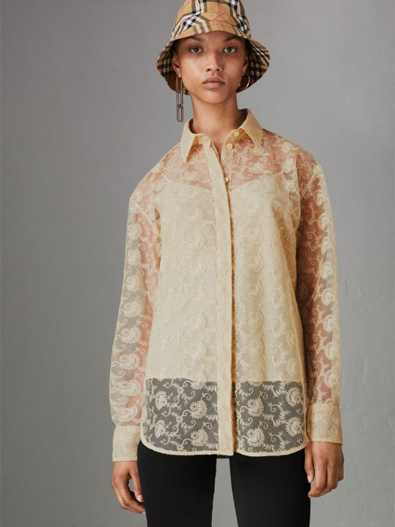 Floral Lace Shirt in Pale Yellow