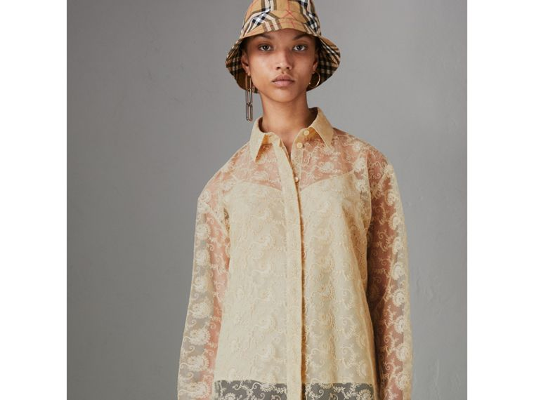 Floral Lace Shirt in Pale Yellow - Women | Burberry Australia - cell image 4