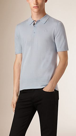 Check Placket Wool and Silk Blend Polo Shirt