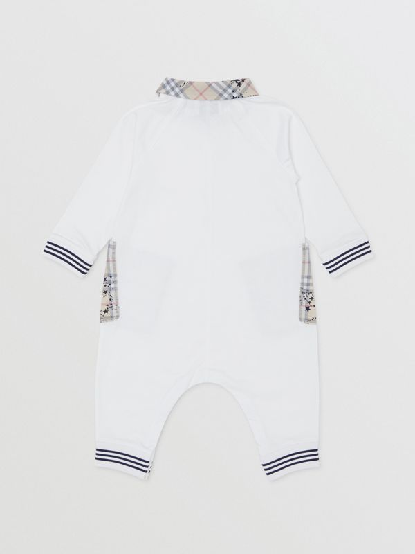 Star Print Check Trim Cotton Jumpsuit in White - Children | Burberry - cell image 3