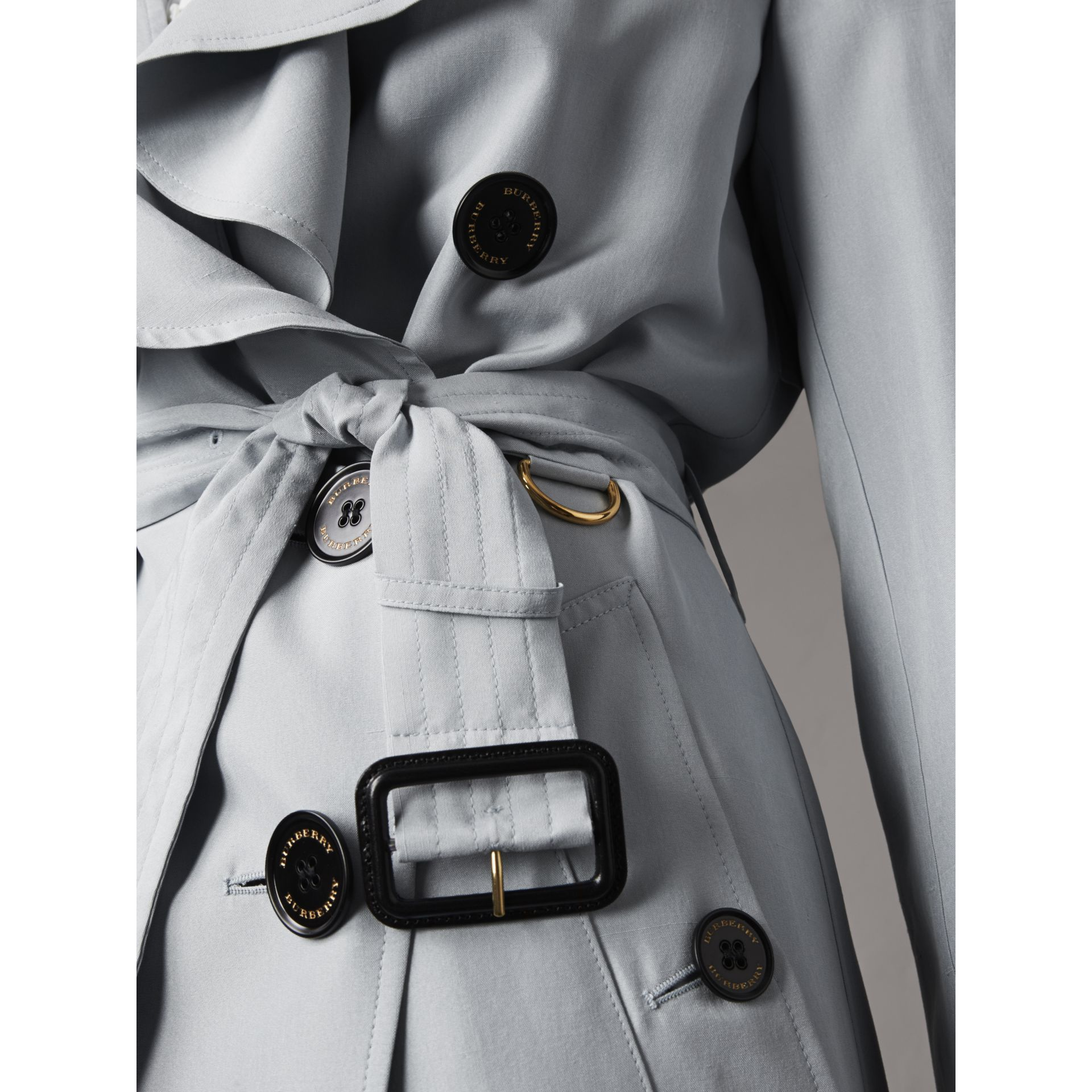 Ruffle Detail Silk Trench Coat in Pale Slate Blue - Women | Burberry Canada - gallery image 5