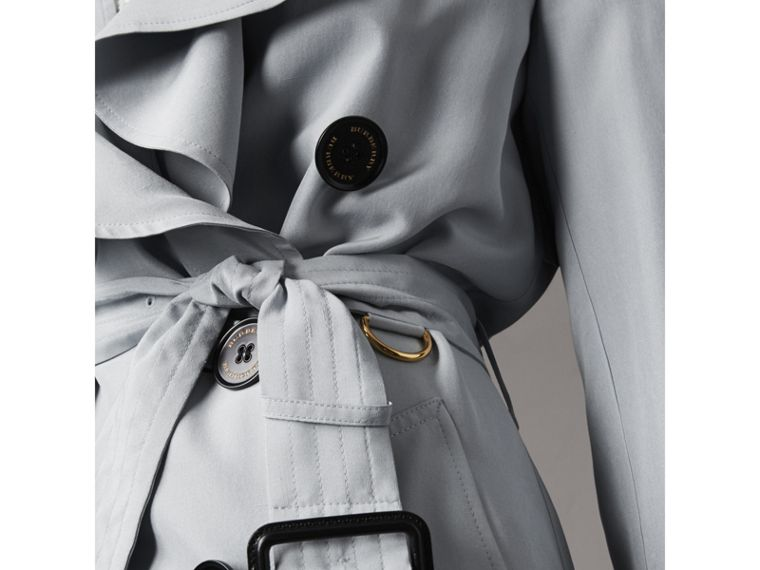 Ruffle Detail Silk Trench Coat in Pale Slate Blue - Women | Burberry - cell image 4