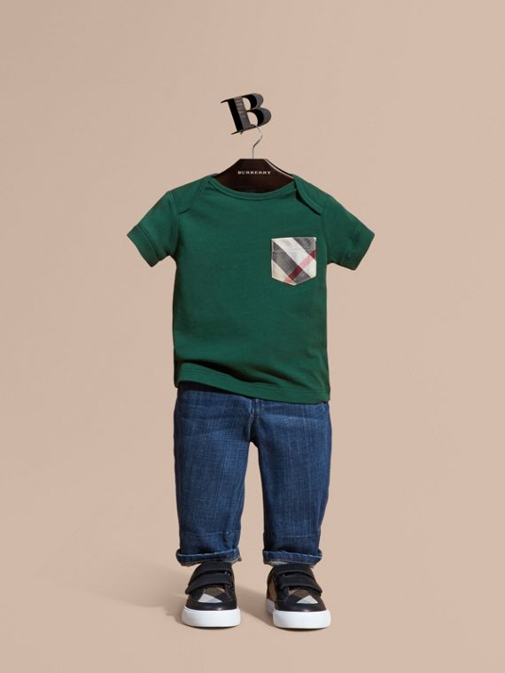 Check Pocket T-Shirt Forest Green
