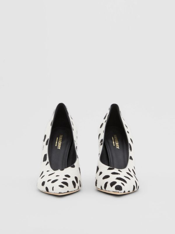 Dalmatian Print Calf Hair Pumps in Optic White/black - Women | Burberry United Kingdom - cell image 3