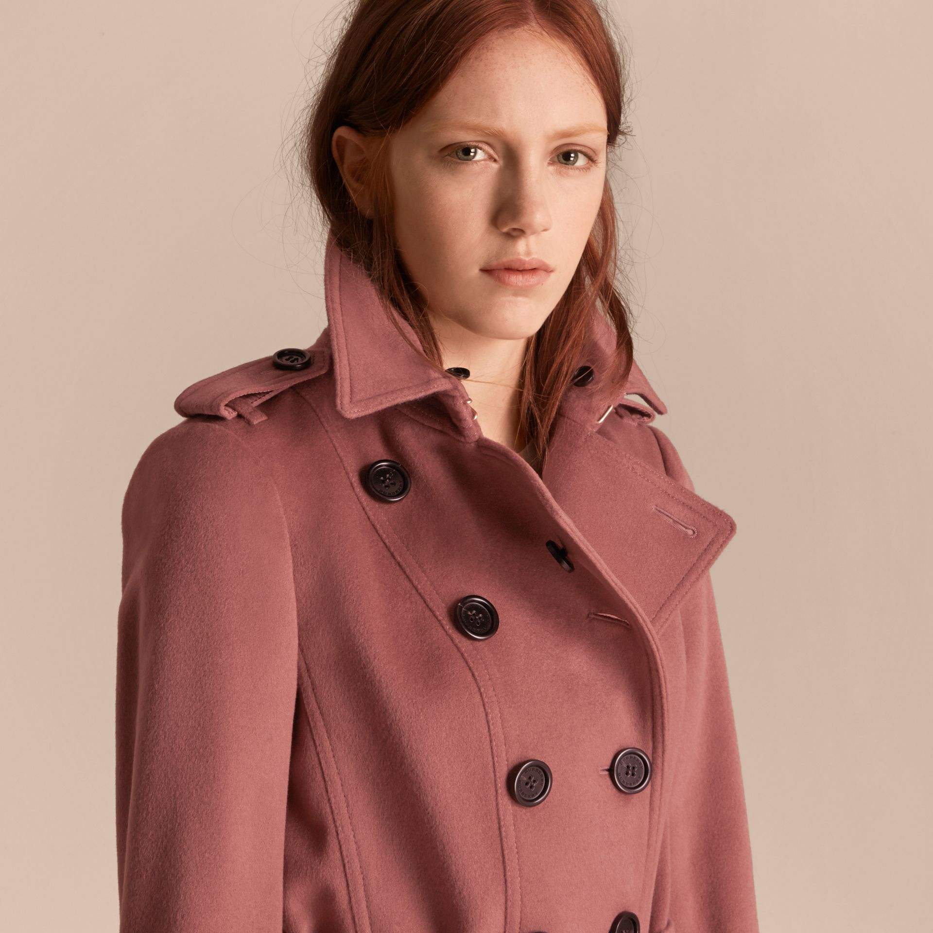 Antique rose Wool Cashmere Trench Coat with Detachable Fur Collar - gallery image 7