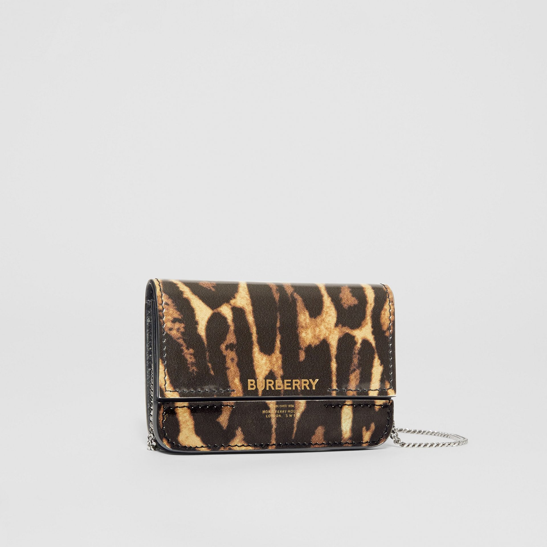 Leopard Print Leather Card Case with Chain Strap in Dark Mustard - Women | Burberry United States - gallery image 6