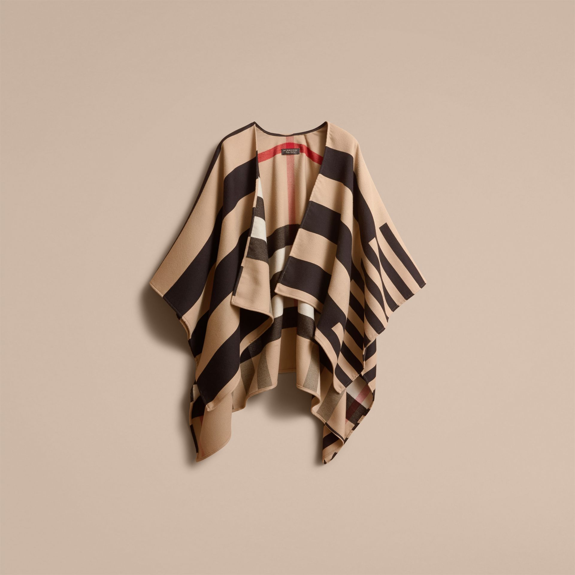 Reversible Stripe and Check Merino Wool Poncho in Camel - Women | Burberry - gallery image 4