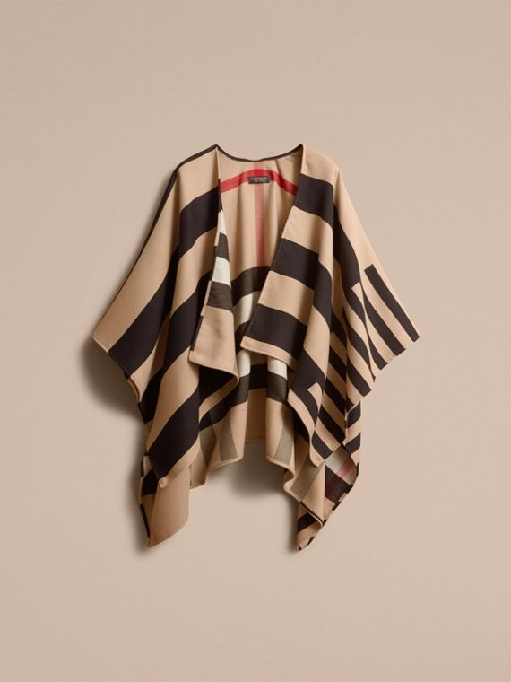 Reversible Stripe and Check Merino Wool Poncho in Camel - Women | Burberry - cell image 3
