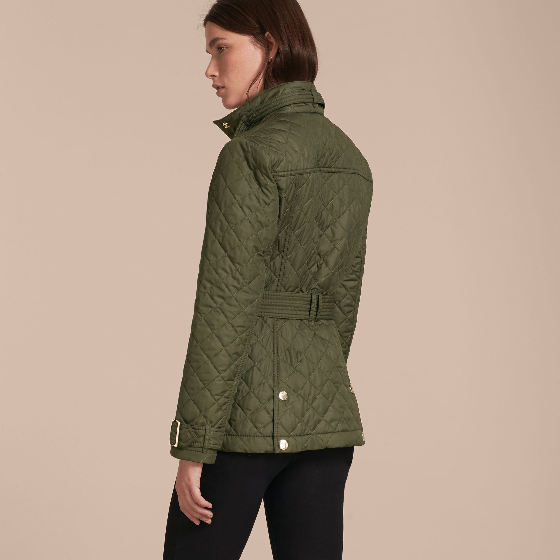 Buckle Detail Technical Field Jacket in Military Green - gallery image 3