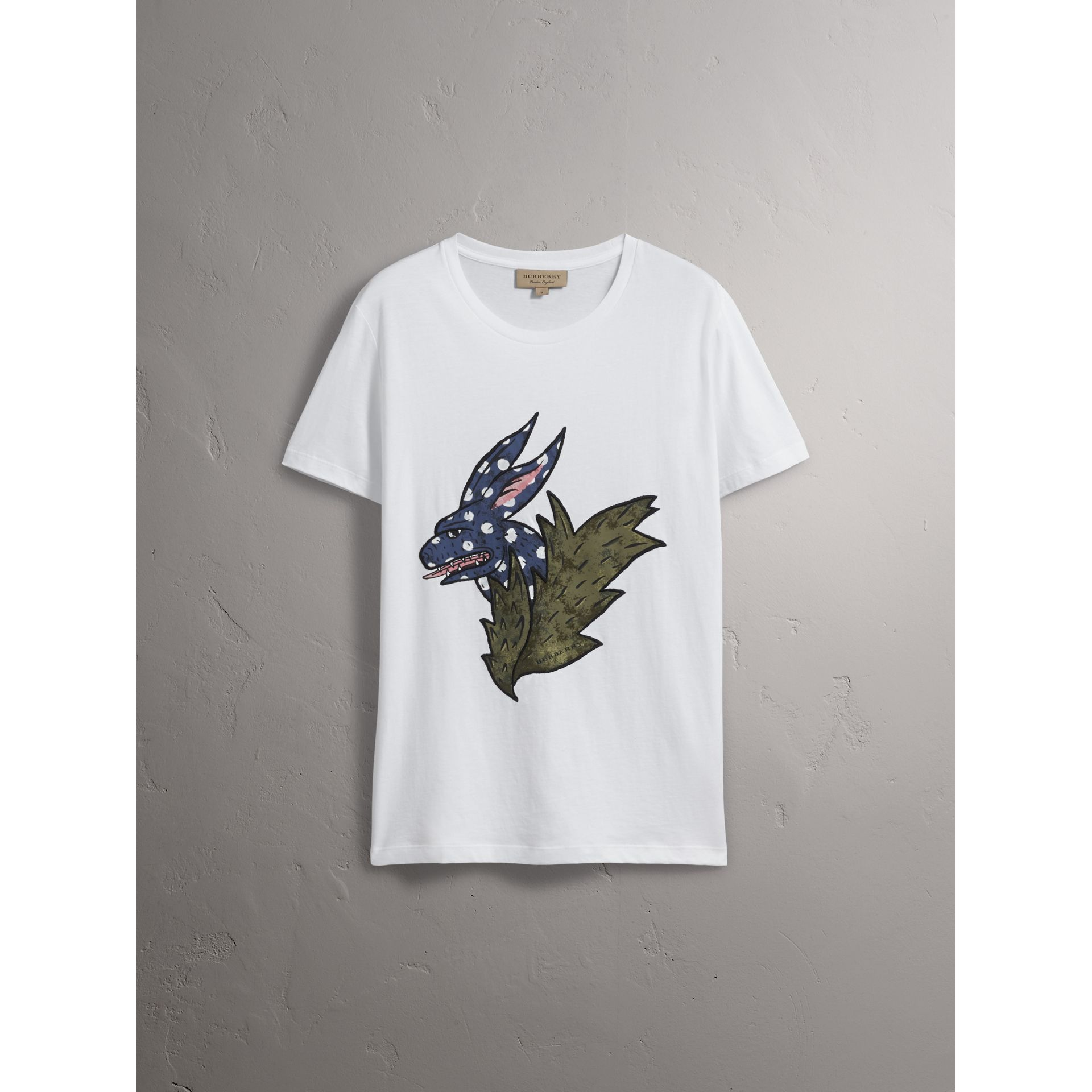 Flocked and Embroidered Beasts Print Cotton T-shirt in White - Men | Burberry United Kingdom - gallery image 3