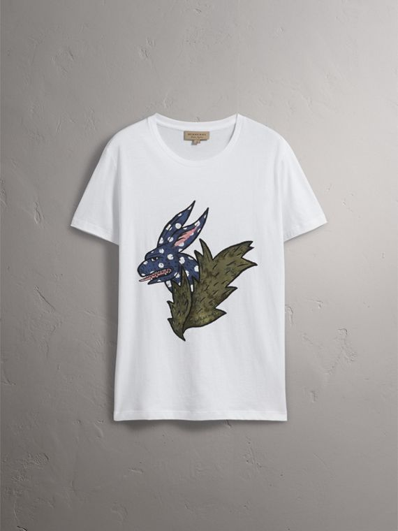 Flocked and Embroidered Beasts Print Cotton T-shirt in White - Men | Burberry United Kingdom - cell image 2