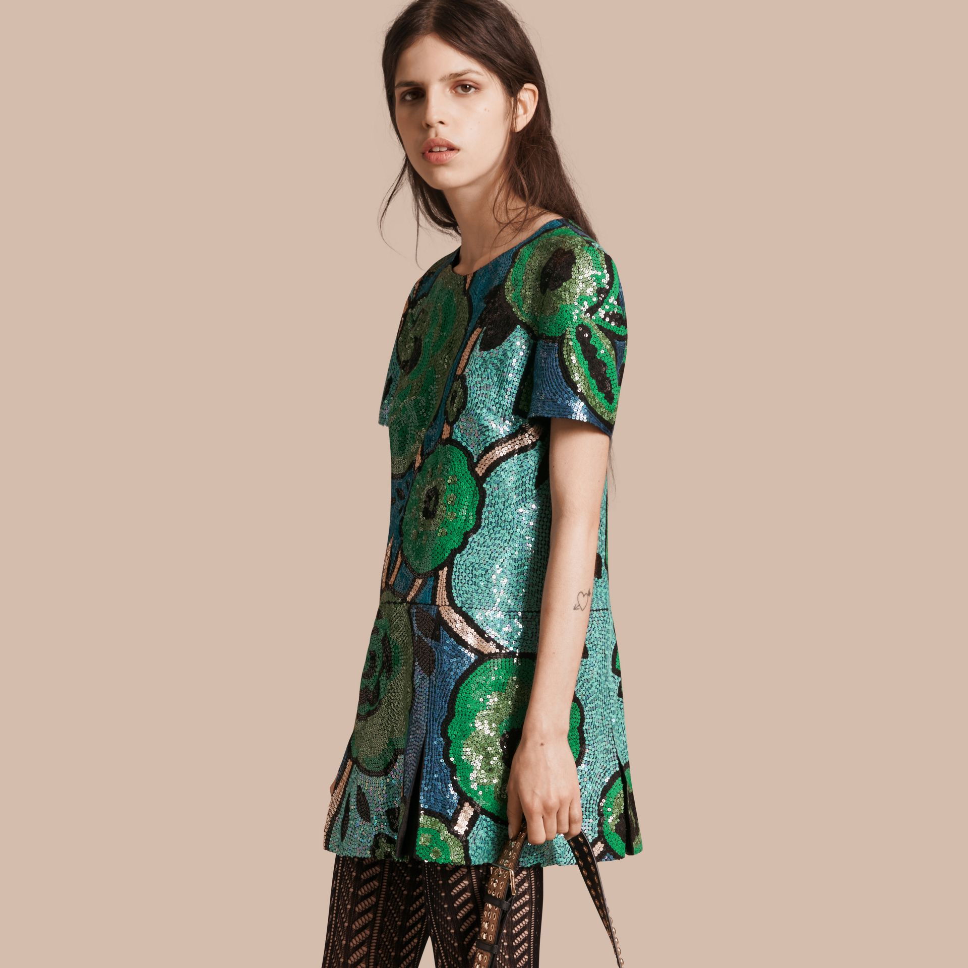 Bright green Hand-embroidered Sequin T-shirt Dress Bright Green - gallery image 1