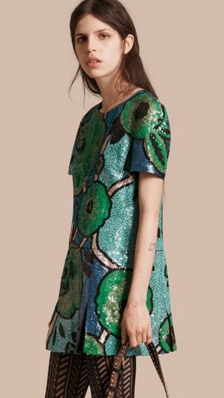 Hand-embroidered Sequin T-shirt Dress